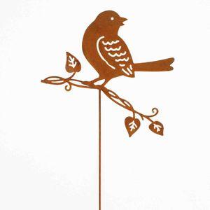 Blumenstecker Vogel Metall L37cm Pflanzenstecker Gartenstecker Deko Stecker , Farbe:rost