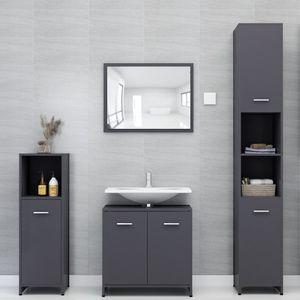 Möbel® Badmöbel Set 4-tlg.,Set Badezimmer,Waschtischunterschrank Modern-Design,Bad Hochschrank,Hängeschrank,Hochschrank,Grau Spanplatte🐳4293