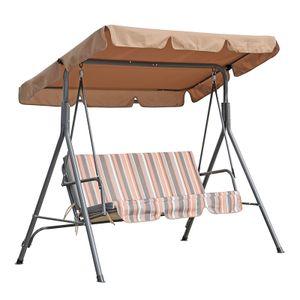 Angel Living Hollywoodschaukel Gartenschaukel 3 Sitzer mit Sonnenschutz 173x110x151cm (Khaki)