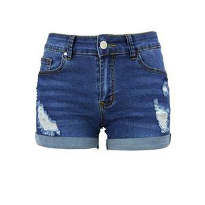 Damen Ripped Denim Jeans Shorts Sommer Stretch Rip Mittlerer Taillenhose,Farbe:Dunkelblau,Größe:XL