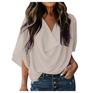 Lässiges, drapiertes, lockeres Hemdoberteil mit ausgestelltem V-Ausschnitt für Damen Größe:S,Farbe:Weiß