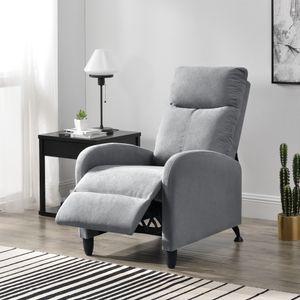 Polstersessel Bregenz Relaxsessel Relaxliege 102x60x92 cm Liegesessel Fernsehsessel Sessel mit verstellbarer Rückenlehne TV Sessel aus Textil Hellgrau [en.casa]