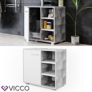 VICCO Waschtischunterschrank PERRY 60 x 40 cm Grau Beton - Unterschrank Badregal Badschrank Siphonausschnitt Waschbecken