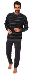 Herren Frottee Pyjama Schlafanzug mit Bündchen und Rundhals  - auch in Übergrößen - 93 751, Farbe:grün, Größe:64/66