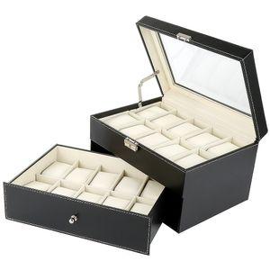 WYCTIN Uhrenbox Uhrenkoffer für 20 Uhren Uhrentruhe Uhrenkasten Uhrenschatulle 28.5*20.5*15cm