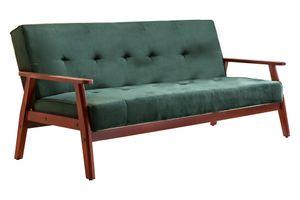 SIT Möbel Schlafsofa 3-Sitzer | mit Relax Funktion | Bezug Samt | Gestell Eukalyptus | kirschbaumfarbig-grün | B 188 x T 85 x H 81 cm | 06033-32 | Serie SIT4SOFA