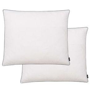 Kissen 2 Stk. Daunen- / Federfüllung Leicht 70 x 60 cm Weiß