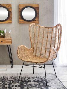 SIT Möbel Sessel aus Rattan in natur mit antik schwarzen Gestell|B75 x T84 x H113 cm|05341-01|Serie RATTAN