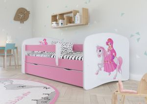 Rosa Kinderbett Mit Matratze, Lattenrost & Schublade Enthalten - Jugendbett - Tiere - Autos - Pink -Prinzessin auf einem Pferd - 180 x 80 cm