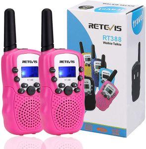 Retevis RT388 Walkie Talkie Kinder PMR446 8 Kanäle Kinder Funkgeräte mit Taschenlampe VOX Walkie Talkie Set, Spielzeug Weihnachtsgeschenk für Kinder (1 Paar, Rosa)