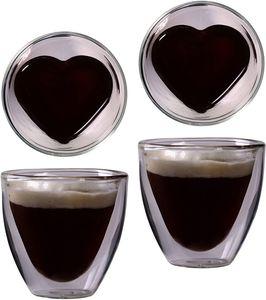 Doppelwandige Espresso-Gläser, 2er-Set 240ml, Mokkatassen, Thermo-Gläser mit Schwebe-Effekt