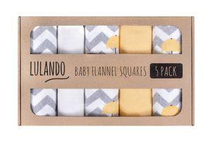 LULANDO Stoffwindeln und Moltontücher 70x80cm (5er Set). Waschbare Windeln und Spucktücher für Ihr Baby., Farbe:Elephants (White / Yellow)