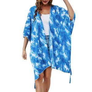 Frauen Kimono Strickjacke Tie Dye Offene Front Halbe aermel uebergrosse Robe Badeanzug Strand Vertuschen