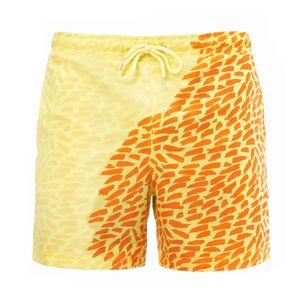 Herren Aquarellwechsel Badehose Strandhose Warme Farbwechsel Shorts Größe:XL,Farbe:Ocker