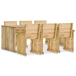 Hochwertigen Garten Sitzgruppe Gartengarnitur - 7-teiliges Outdoor-Essgarnitur Garten-Essgruppe Sitzgruppe Tisch + stuhl Imprägniertes Kiefernholz☆9630
