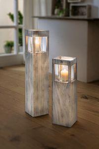 Set Windlicht-Säulen 'Shabby-Charme', 2 tlg., Shabby Style, gekalktes Pappelholz