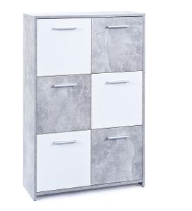Kommode Sideboard Malinus Beton Nachbildung weiß 6 Türen