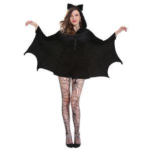 Damen Schwarz Fledermaus Flügel Ärmel Zip Hoodie Halloween Kostüme für Erwachsene Flowy Tuniken Kleid Größe L