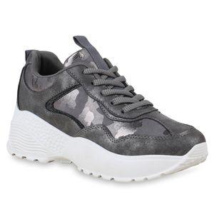Mytrendshoe Damen Plateau Sneaker Glitzer Turnschuhe Metallic Plateauschuhe 824387, Farbe: Grau, Größe: 37