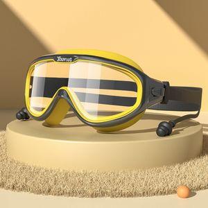 Schwarz-Gelb - Kinder Schwimmbrille Schwimmbrille Großer Rahmen wasserdicht Anti Nebel Jungen und Mädchen Taucherbrille Tauchausrüstung
