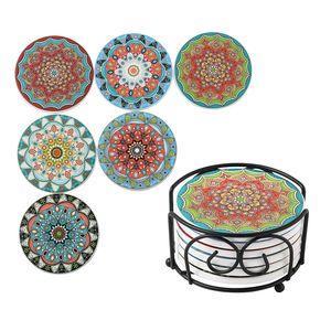 LOVECASA Tasse Untersetzer Set mit Korkrücken, 6 teilig Dekorative Getränkeuntersetzer mit Metall-Ständer