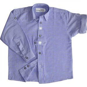 Kinder Trachtenhemd knaben trachtenhemd Trachtenlederhosen Blau-Karo, Größe:92/98