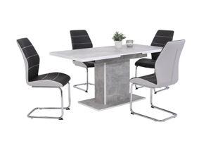 5 tlg. Essgruppe Alice - Säulentische betonoptik  120-160x80cm - Schwingstuhl zweifarbig Grau/Chrom