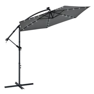 Juskys Ampelschirm Brazil 300 cm LED-Beleuchtung Solar & Kurbel – UV-Schutz wasserabweisend knickbar – Sonnenschirm Marktschirm – grau