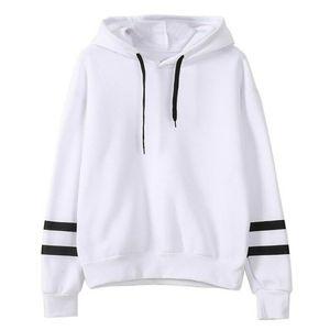 Damen Pullover Loose Hooded Sweatshirt Langarm Top,Farbe: Weiß,Größe:M