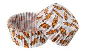"""Dr. Oetker Papier-Backförmchen""""Maus"""" Ø 5 cm DieMaus, beschichtete Backförmchen, Muffinformen mit Maus-Desing, leicht ablösbare Form (Farbe: Weiß, Orange, Braun) Menge: 1 x 50 Stück"""