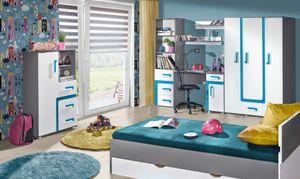 Jugendzimmer Komplett - Set F Oskar, 8-teilig, Farbe: Anthrazit / Weiß / Blau