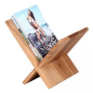 WOHNLING Zeitungsständer MUMBAI Massivholz Akazie X-Form 31 cm Zeitschriften-Ständer Design Prospekt-Halter Landhaus-Stil