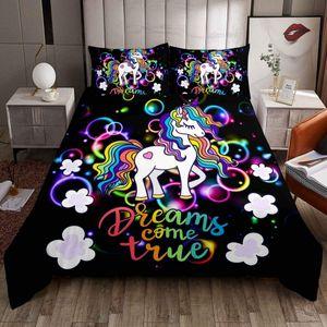 Girly Fantasy Einhorn Themed Bettwäsche Set 135x200cm Magisches Tier Bettbezug Set Fairy