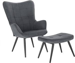 WOLTU Relaxsessel Lehnstühle Vintage Retro Sessel Polstersessel mit Hocker Fernsehsessel Ohrensessel Cordsamt Dunkelgrau SKS28dgr