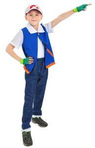 Pokemon Trainer Kostüm von Ash Ketchum | Satoshi Kinderkostüm | Größe: 140