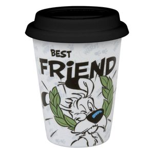 Könitz Characters Coffee to Go Mug mit Deckel - Best Friend, Idefix, Kaffeebecher, Kaffee Becher, Silikondeckel, Porzellan, 380 ml, 11 5 162 2249
