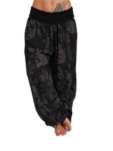 Frauen Yoga Hose Baggy Hippie Harem Boho Strand Hose mit weitem Bein Sport Beiläufig,Farbe:Schwarz,Größe:XXL