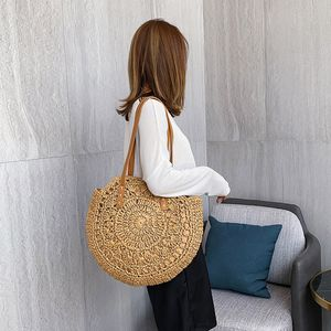 Damenmode Retro gewebte Umhängetasche Blumenhandtasche gewebte Tasche Strandtasche QQQ90624084KH