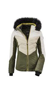 Killtec - Damen Jacke in Daunenoptik mit abzippbarer Kapuze und Schneefang, Atka WMN Quilted Ski JCKT A (35686), Größe:48, Farbe:Oliv (00733)