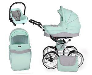 Retro Kinderwagen Kombikinderwagen Set + Zubehör Farbauswahl Romantic Grey by ChillyKids Mint 04 3in1 mit Babyschale