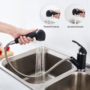 Ausziehbar Küchenarmatur, Mit zwei Anschluss-Schläuche, 360° Spültischarmatur Mischbatterie Küche Wasserhahn mit Brause, Schwarz