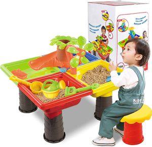 NightyNine Kinder Sand Pit Set Strand Sandkastentisch - Sand & Wassertisch für Kleinkinder Sandbox Aktivitätstisch, Sandtisch Sensortisch Strandspielzeug für Sandburgen, Wasserspiel und Sandkästen