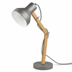 Tomons Schreibtischlampe LED mit schwenkbaren Holzarmen, Designer-Tischlampe, Leselampe, Studierlampe, Arbeitslampe, Bürolampe, Nachttischlampe, LED-Birnen-Lampe - Grau