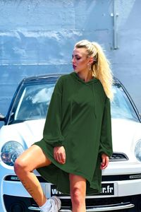 Damen Oversized Long Shirt Freizeit Langarm Tunika Loose Fit Pullover Oberteil mit Kapuze Leichter Longsleeve, Farben:Grün, Größe:4XL