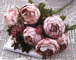 13 stk Künstliche Silk Pfingstrose Rose Kunstblumen Hochzeit Nachbildung Blumenstrauß