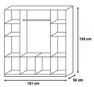 Kleiderschrank Dilan grau / weiß 4 Türen B 181 cm eiche sonoma Schrank Drehtürenschrank Wäscheschrank Kinder- und Jugendzimmer Jugendzimmer Kinder- und Jugendzimmerschrank