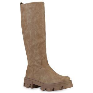VAN HILL Damen Stiefel Plateaustiefel Blockabsatz Profil-Sohle Schuhe 837680, Farbe: Khaki, Größe: 39