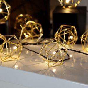 LED-Lichterkette 'Edge' - 10 warmweiße LED - 2,25m - schwarzes Kabel - Trafo - gold