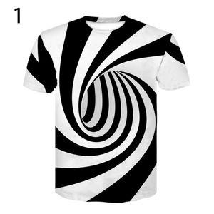 Plus Size Summer Men Vertigo Hypnotisches 3D-Druck-T-Shirt||Weiß|| Asiatische Größe:3XL