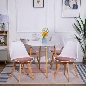 HJ 4er Set Weiß Skandinavischen für die Esszimmerstühle,Mit Rosa Sitzkissen